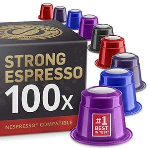 Strong Coffee Variety Pack: 100 Nespresso Compatible Pods £24.49 Sold by Real Coffee and Fulfilled by Amazon