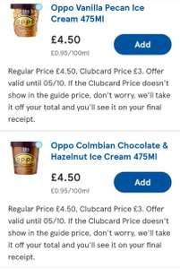 £2 offOppo Ice Cream Tub 475ml Orders at Tesco (online only)