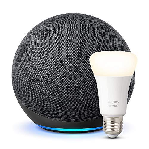 Echo (4th Generation), Charcoal + Philips Hue White Bulb E27 or B22 - £89.99 @ Amazon