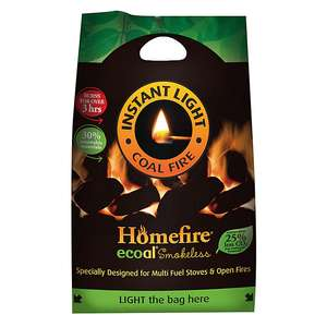 Homefire Ecoal smokeless solid fuel (Instant light) 4.5kg Pack - £3.50 + free click and collect at B&Q