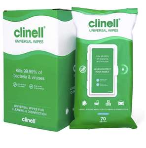 CLINELL CW70R4 Universal Cleaning and Disinfecting Wipes with Lock Lid 4 Packs of 70 XL £9.95 (Prime) / £14.44 (non Prime) at Amazon
