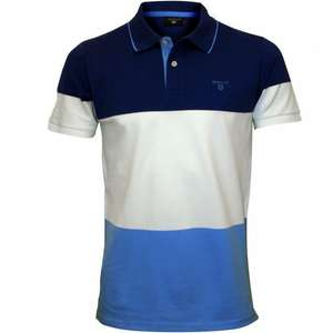 Mens' GANT 3-Colour Stripe Pique Rugger Polo Shirt, Yale Blue - £40 (or £36.70 - 8.25% premium TCB or Quidco) delivered @ UnderU