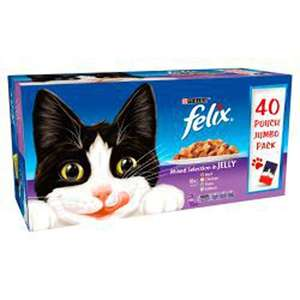 Felix Purina Felix Mixed Selection in Jelly Wet Cat Food 40 x 100g Pouch Jumbo Pack - £9 / £6.75 with S&S Prime / +£4.49 non Prime @ Amazon