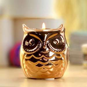 Official Yankee Lucky Bronze Owl Ceramic Holder + Candle £5 delivered at Yankee Bundles