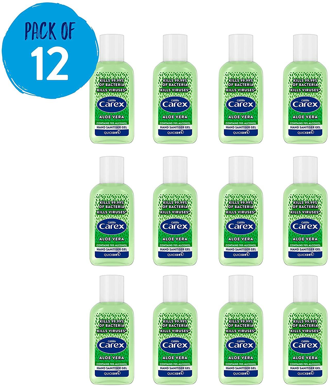 12x 50ml CAREX Aloe Vera Anti Bacterial Hand Sanitiser Gel Pack - £12 Prime / +£4.49 non Prime @ Amazon UK