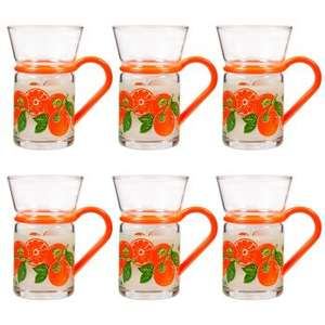 Clear Tea Glass with Handles (Set of 6) Mugs 5 designs £2.99 (Minimum order £5) P&P £2.99 @ Clearance Shed