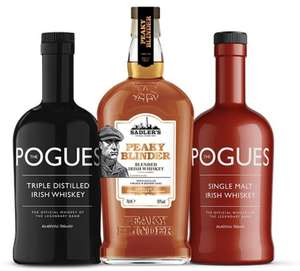 Peaky Blinder Blended Irish Whiskey 70cl, The Pogues Irish Whiskey 70cl, The Pogues Single Malt Irish Whiskey 70cl £45 @ Sadler's brewing Co