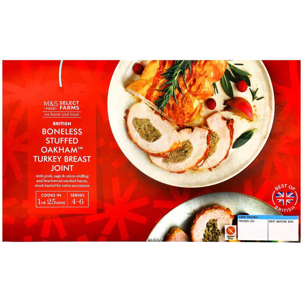 M&S Select Farms British Stuffed Oakham Turkey Breast Joint Small Frozen 1.08kg £3.75 at Ocado