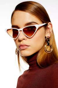 Top Shop Sunglasses from £3, TRIXIE White Triangle Feline Sunglasses £3.+ with Free Express Delivery with Code From Top Shop