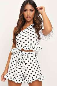 Monochrome Polka Dot Tie Front Frill Shorts £4.19 delivered @ I Saw It First