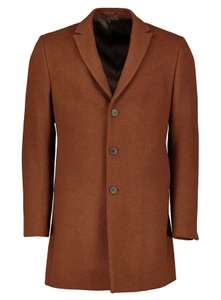 PREMIUM Tobacco Brown Slim Fit Wool Blend Overcoat £30 Sainsbury's Tu Clothing - Free Click & Collect