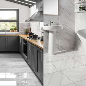 Calacatta Gloss Marble Effect Glazed Porcelain Wall & Floor Tile - £17.60 / Olympia Polished Stone Tiles £17.28 - Click & Collect @ Wickes