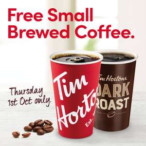 FREE Small Brewed Coffee on 1st October @ Tim Hortons