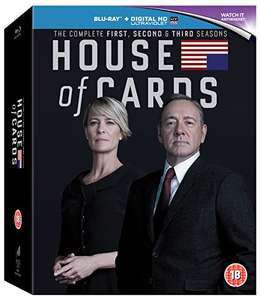 House of Cards - Season 1-3 [Blu-ray] [Region Free] - £3.90 (£6.89 non prime) sold by DVDs74 on Amazon