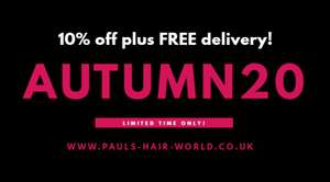 10% off plus FREE delivery on all Online Orders at Pauls Hair World