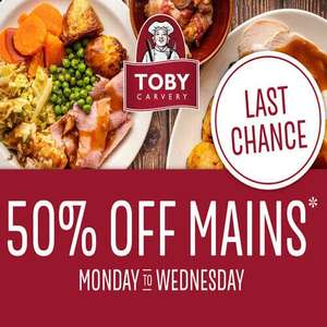 50% off Mains with voucher Monday 12th - Wed 14th Oct (With App) @ Toby's Carvery