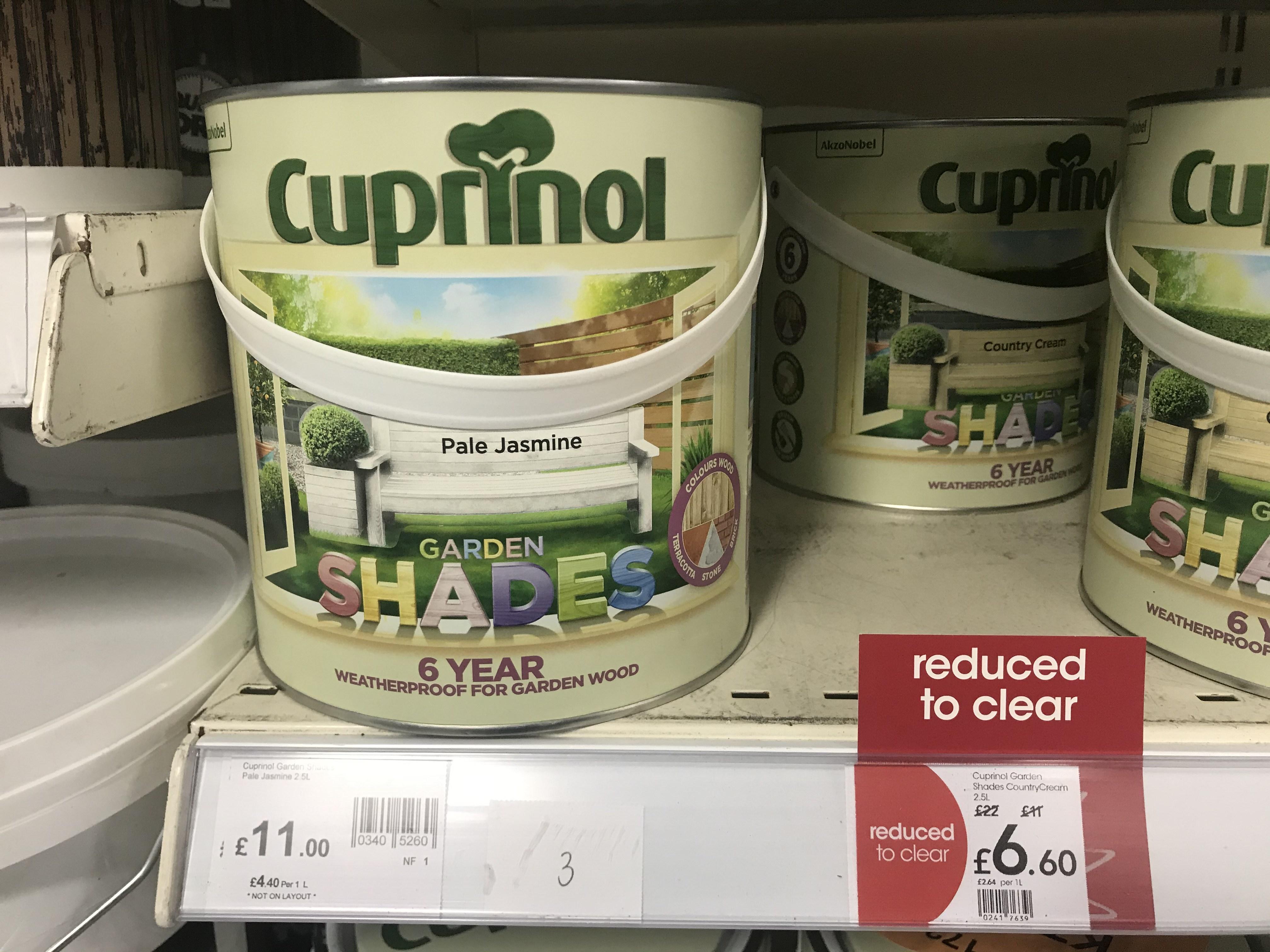 Cuprinol Garden Shades and Ducksback £6.60 instore @ Wilko, Kingston upon Thames
