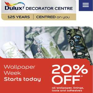 Dulux wallpapers 20% off week at Dulux Decorator Centre