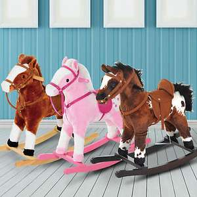 Kids Toy Rocking Horse Wood Plush Pony with Sound £30.59 Delivered @ eBay / 2011homcom