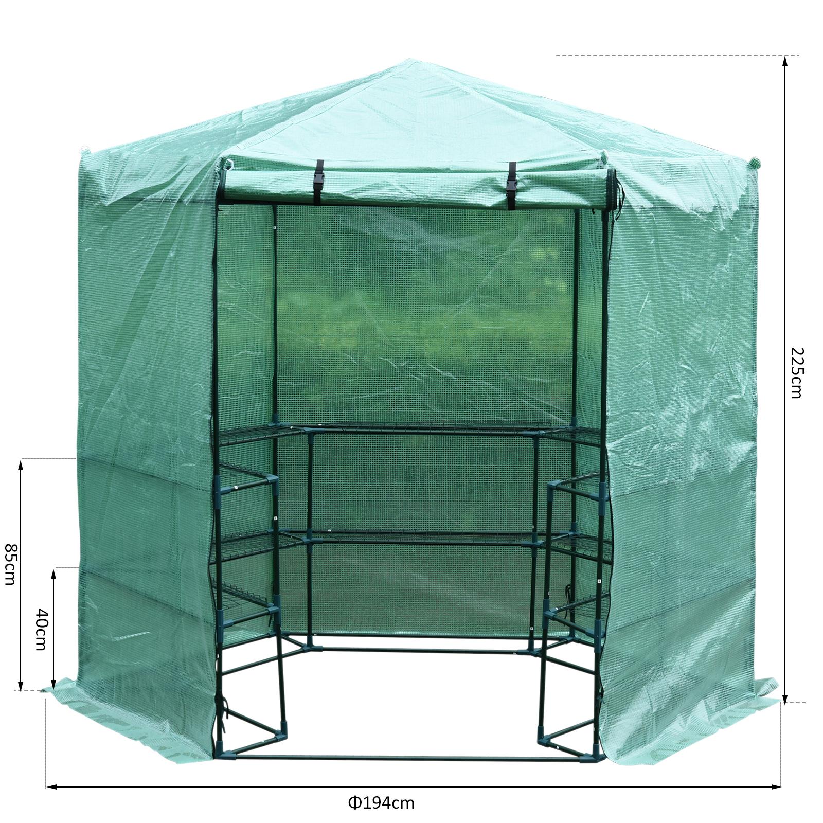 Hexagon Walk-in Greenhouse Garden Planter Flower Grow Zipper Door φ194 x 225H cm £64.99 @ 2011homcom eBay