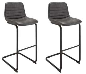Home Logan Pair of Faux Leather High Back Bar Stools - Black for £50 @ Argos (free click and collect)