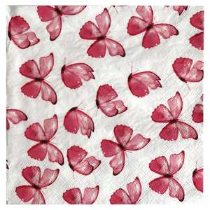 Pink Flying Butterflies or Jungle Cheetah Napkins 33cm 20 Pack for 38p @ Tesco