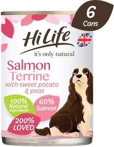 HiLife It's Only Natural Premium Dog Food Salmon Terrine, Sweet Potato and Peas, 6 x 395g Cans £1.49 Prime / £5.98 Non prime at Amazon