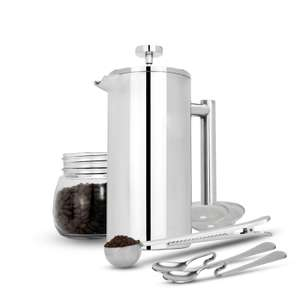 French Press Cafetiere Steel Coffee Maker FREE Filters & Spoons M&W 1000ml - £14.44 with code @ roov / ebay