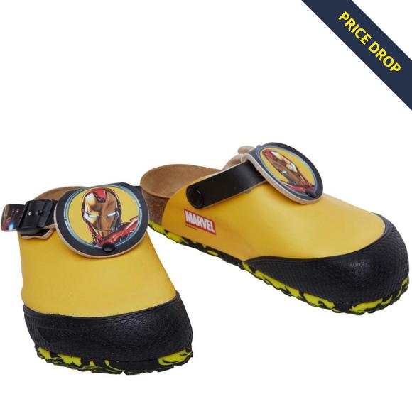 Birkenstock Boys Shetland Birko-Flor Narrow Fit Sandals Marvel Ironman Yellow £12.98 delivered @ MandM Direct