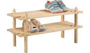 Argos Home 2 Shelf Shoe Storage Rack - Solid Pine now £4.67 (Free Click & Collect) @ Argos
