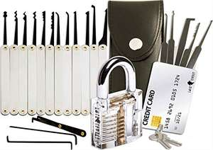 20-Piece Lock Pick Set with Transparent Training Padlock £11.87 (Prime) + £4.49 (non Prime) - Sold by On Time Fox and Fulfilled by Amazon.