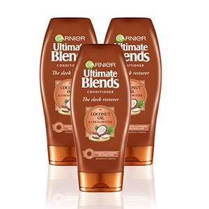Garnier Ultimate Blends Coconut Oil Frizzy Hair Conditioner 360ml - Pack of 3 for £3.16 (+£4.49 Non-Prime) Delivered @ Amazon