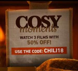 Cosy Moments - 50% off 3 film rentals/purchases w/ code @ Chili
