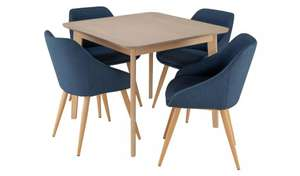 Argos Home Skandi walnut or oak veneer dining table & four blue fabric chairs for £231.95 delivered @ Argos