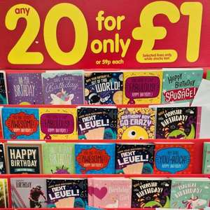 20 Birthday Cards for £1 at The Works in Lincoln