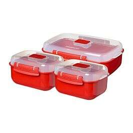 Sistema Microwave Heat & Eat food containers (3 Pack) in red / clear for £6.93 click & collect (or +£4.95 delivery) @ Robert Dyas