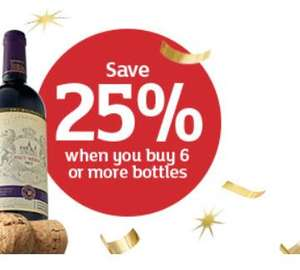 25% off 6 bottles of Wine, Champagne and Prosecco, Thursday 22nd October - 1st November (Online & Instore) @ Sainsbury's
