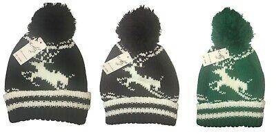 New Unisex Adults Reindeer Knitted Pom Pom Warm Beanie Hat 99p ebay / aurora-avenue