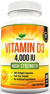 Vitamin D 4,000 IU, Maximum Strength Vitamin D3 Supplement, 365 Softgels - £6.99 Sold by VitaPremium and Fulfilled by Amazon Prime