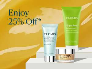 Elemis 25% off with voucher code, free standard UK delivery + 2 free samples
