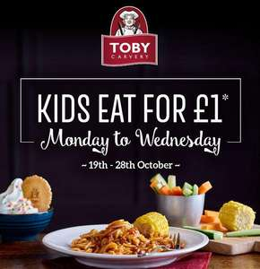 Kids Eat for £1 when purchased with an Adult Main on Monday to Wednesday (Via App) @ Toby Carvery