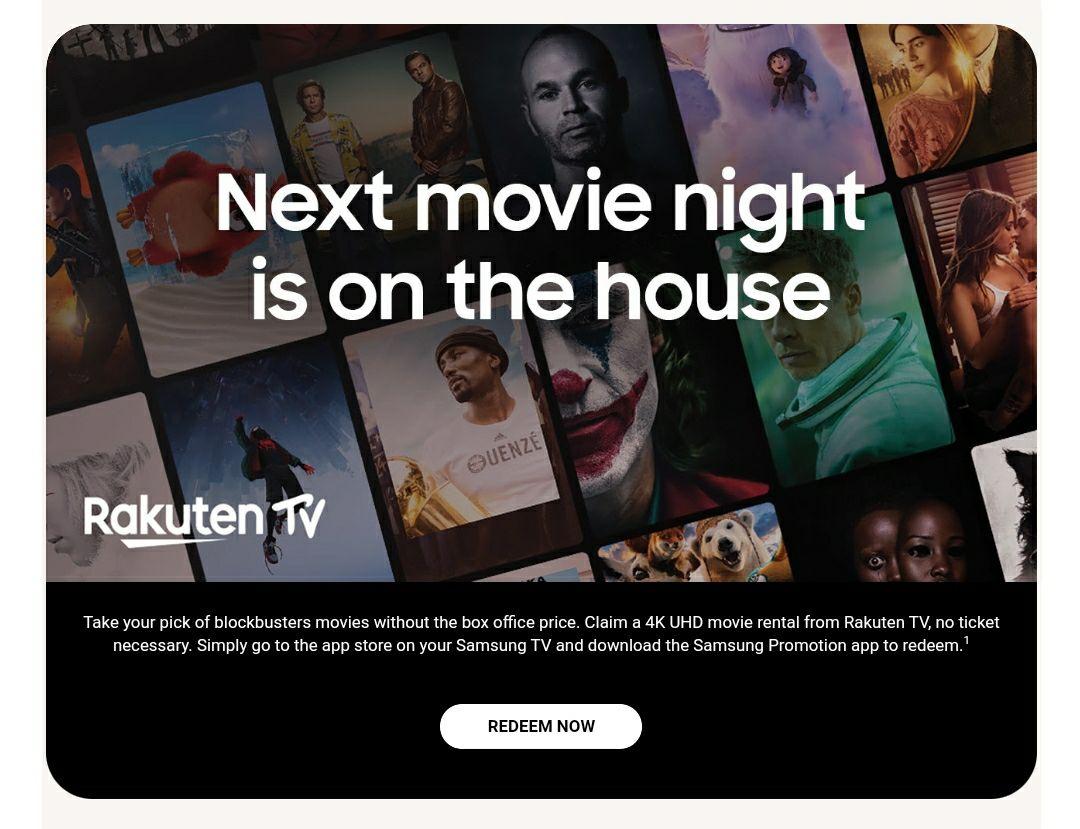 Free Movie Rental Rakuten via Samsung TV App