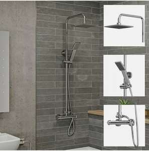Bathroom Thermostatic Mixer Shower Set Square Chrome Twin Head Exposed Valve with 10 year guarantee £57.03 @ PlumbWorldUK / ebay