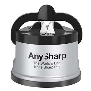 AnySharp Knife Sharpener with PowerGrip, Silver, £6 / £10.49 non prime @ Amazon