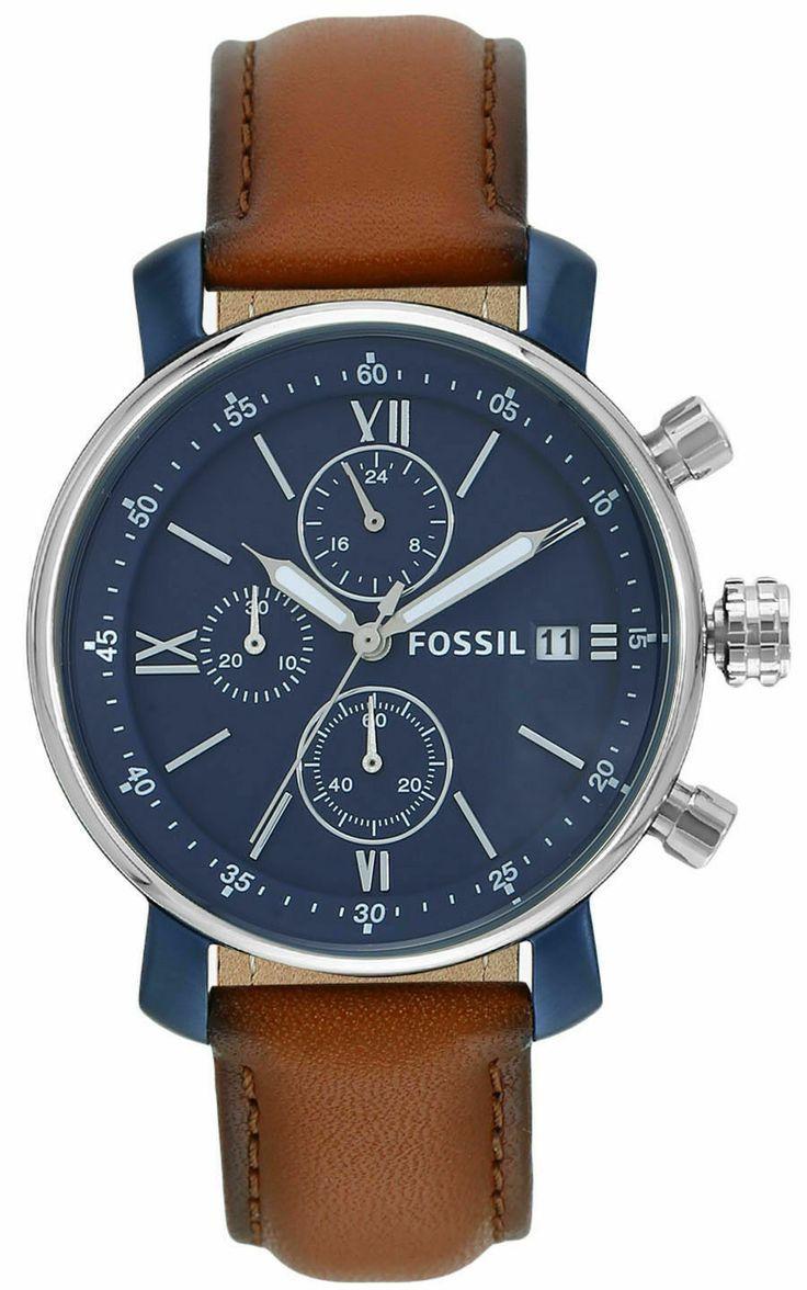 Fossil BQ2163 Rhett Chronograph Brown Leather Quartz Watch 42mm, 50M WR £41.70 + Free Engraving @ Fossil