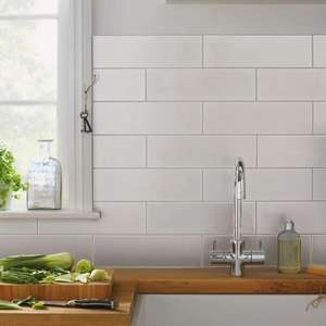 Islington Wall Tile - Matt White - 100 x 330mm - Pack of 15 - £6 Using click and collect (£12 per M2) @ Homebase