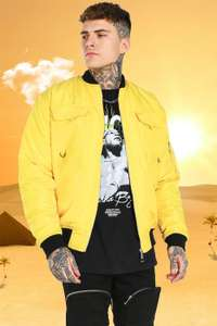 Burna Boy MA1 Bomber Jacket with back print (yellow) - £7 + Delivered @ BooHooMan