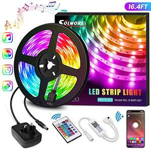 LED Strips Lights 5M, SOLMORE 16 Million Colors Rope Lights Sync with Music 5m/16.4ft £10.19 Sold by Pinhuymn and Fulfilled by Amazon