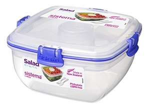 Sistema To Go Salad with Dressing Pot and Cutlery, 1L - Clear/ Dark Blue or Green for £3.50 (Prime) / £6.99 (Non Prime) delivered @ Amazon