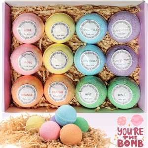 Bath Bombs Gift Set - 12 Fizzy Bubble Bath Bath Bombs, £8.99 Prime / £13.48 non-Prime Sold by Hobee store and Fulfilled by Amazon
